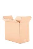 Ouvrez la boîte en carton ondulé brune d'isolement sur le blanc Photos stock