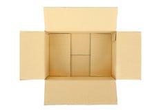 Ouvrez la boîte en carton ondulé vide de carton Images stock