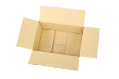Ouvrez la boîte en carton ondulé vide de carton Photos stock