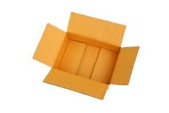 Ouvrez la boîte en carton ondulé vide de carton Photographie stock libre de droits
