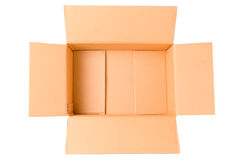 Ouvrez la boîte en carton ondulé vide de carton d'isolement sur le blanc Photographie stock libre de droits