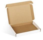 Ouvrez la boîte en carton Photographie stock libre de droits