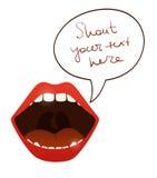 Ouvrez la bouche avec parlent la bulle Image stock