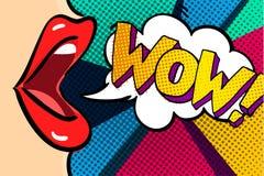 Ouvrez la bouche et le message de wow illustration de vecteur