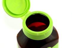 Ouvrez la bouteille vide de vitamine Photographie stock