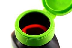 Ouvrez la bouteille vide de vitamine Image libre de droits