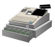 Ouvrez la caisse comptable sur un fond blanc Photographie stock libre de droits