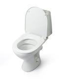 Ouvrez la cuvette des toilettes d'isolement sur le fond blanc Photos libres de droits