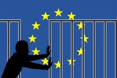 Ouvrez la frontière pour la forteresse l'Europe Photographie stock