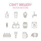 Ouvrez la ligne ensemble de vecteur de bière et de brasserie d'icône Image stock