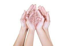Ouvrez la main de la mère et de l'enfant Images libres de droits