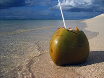 Ouvrez la noix de coco sur la plage tropicale et par l'eau Image libre de droits