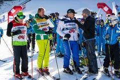 Ouvrez la nouvelle saison 2015-2016 de ski dans Bansko, Bulgarie Photographie stock libre de droits