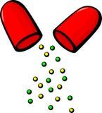 ouvrez la pillule de médecine ou l'illustration de vecteur de capsule Image libre de droits