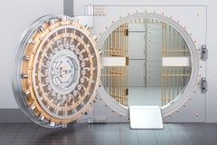 Ouvrez la porte de chambre forte de banque, 3D Images libres de droits