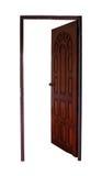 Ouvrez la porte en bois d'isolement Image stock