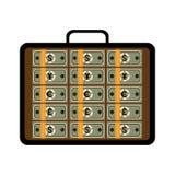 Ouvrez la serviette avec des paquets de différents billets de banque illustration libre de droits