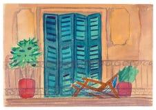 Ouvrez la terrasse avec des volets, une chaise longue et un palmier dans le PO Image stock