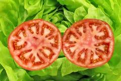Ouvrez la tomate avec de la salade images stock