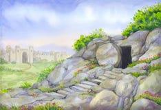 Ouvrez la tombe vide Peinture d'aquarelle Image libre de droits