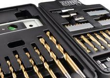 Ouvrez la valise d'outillage noire Photo stock