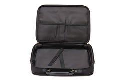 Ouvrez la valise pour le cahier sur le blanc Photo stock
