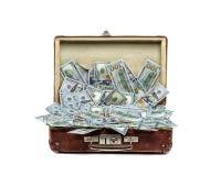 Ouvrez la vieille valise de vintage complètement d'argent, concept d'affaires photos stock