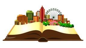 Ouvrez la ville de livre Image stock