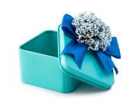 Ouvrez le boîte-cadeau bleu-clair Photos libres de droits