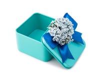Ouvrez le boîte-cadeau bleu-clair Photographie stock libre de droits