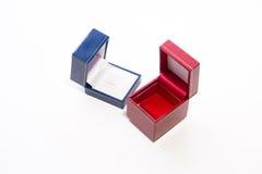 Ouvrez le boîte-cadeau bleu et rouge Photos stock