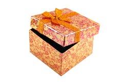 Ouvrez le boîte-cadeau orange Photographie stock libre de droits
