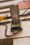 Ouvrez le câblage optique de fibre de boîte Image libre de droits