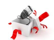 Ouvrez le cadeau avec le câble de réseau illustration libre de droits