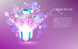 Ouvrez le cadeau avec des feux d'artifice des confettis Vecteur Images libres de droits