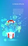 Ouvrez le cadeau avec des feux d'artifice des confettis Vecteur Image libre de droits