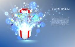 Ouvrez le cadeau avec des feux d'artifice des confettis Vecteur Photos stock