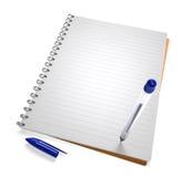 Ouvrez le cahier avec le crayon lecteur Photos stock