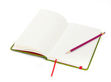 Ouvrez le cahier et le crayon Photographie stock libre de droits