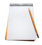 Ouvrez le cahier et le crayon Images libres de droits