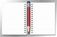 Ouvrez le cahier et le crayon lecteur Image stock