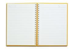 Ouvrez le cahier orange Photographie stock libre de droits