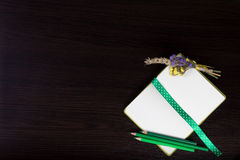 Ouvrez le carnet avec le ruban de point de polka comme repère, boutonniere et crayons verts Photo libre de droits