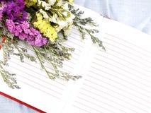 Ouvrez le carnet et le beau bouquet de fleurs de statice Photo libre de droits