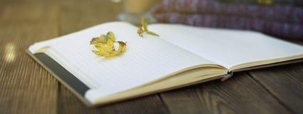 Ouvrez le carnet, feuilles d'automne avec le crayon sur une table en bois, bannière Foyer sélectif copiez les spae images stock