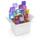 Ouvrez le carton blanc et les icônes colorées du smartphone APP Images libres de droits