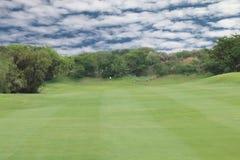 Ouvrez le ciel bleu et les nuages de fairway vert de golf Photographie stock