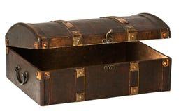Ouvrez le coffre en bois foncé Image libre de droits