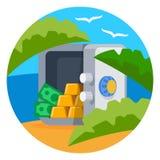 Ouvrez le coffre-fort avec le vecteur de barres d'or Image libre de droits