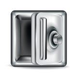Ouvrez le coffre-fort vide en métal sur le blanc Image libre de droits
